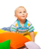 Happy toddler in pillows Royalty Free Stock Photography