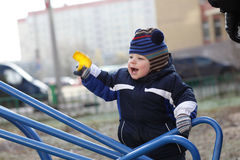 Happy toddler at playground Stock Images