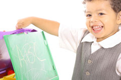 Happy toddler playing school Stock Image
