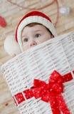 Happy toddler Santa peeking Royalty Free Stock Image