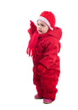 Happy toddler in wintry clothes Stock Image