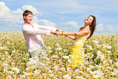Happy together. Loving couple spends time outdoors Stock Image