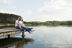 Happy together get fun. Loving couple get fun on the nature. Happy together Royalty Free Stock Photos