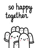 So happy together hand drawn illustration with lettering big marshmallow family with seven kids holding together for stock illustration