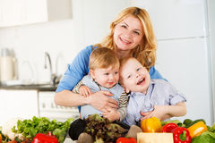 Happy together in the kitchen royalty free stock images