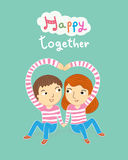 Happy together my sweetheart cartoon vector illustration Royalty Free Stock Photos