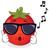 Happy Tomato Whistling with Sunglasses Royalty Free Stock Photos