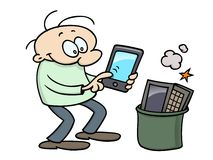 Happy toon character with tablet Stock Photography