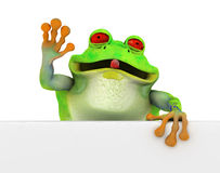 Happy toon frog with a banner Royalty Free Stock Photos