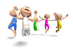 Happy toon guys jumping Royalty Free Stock Photo