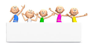 Happy toon guys, white banner Royalty Free Stock Image
