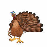 Happy Toon Turkey. A smiling cartoon turkey waving at you. Isolated on a white background Royalty Free Stock Photo
