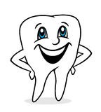 Happy tooth. White happy tooth with smile Stock Photo