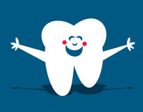 Happy Tooth. Happy little white tooth with open arms on blue background vector illustration