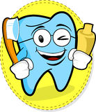 HAPPY TOOTH. Mascot of tooth with tooth-paste and tooth-brush Royalty Free Stock Image