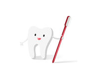 Happy tooth with brush Royalty Free Stock Images