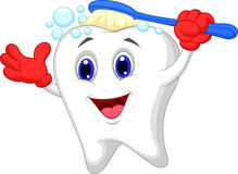 Happy tooth cartoon brushing Royalty Free Stock Photos