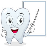 Happy Tooth Character and White Board Royalty Free Stock Photography