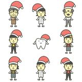 Happy tooth, dentist, boy, girl, children and senior wearing santa claus hat for Merry Christmas and Happy New Year stock illustration