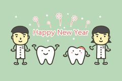 Happy tooth and dentist with text for Happy New Year vector illustration