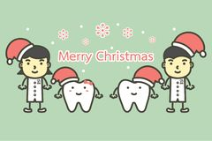 Happy tooth and dentist wearing santa claus hat for Merry Christmas and Happy New Year stock illustration