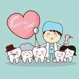 Happy tooth family with dentist Royalty Free Stock Photos