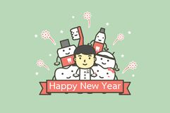 Happy tooth and friends with female dentist with text for Happy New Year royalty free illustration