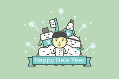 Happy tooth and friends with male dentist with text for Happy New Year stock illustration