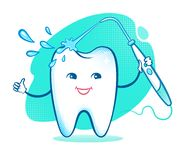 Happy tooth with irrigator Royalty Free Stock Image
