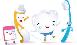 Happy tooth. A tooth playing jumping rope with her ​​best friends for dental hygiene Stock Photography