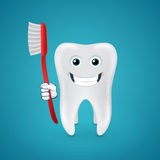 Happy tooth with red toothbrush Stock Photos