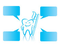 Happy tooth with toothbrush Stock Images
