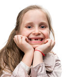 Happy toothless girl. On a white background Royalty Free Stock Photo