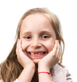 Happy toothless girl. On a white background Royalty Free Stock Image