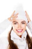 Happy toothy smile. Fresh winter face. Elation. Happy snow-maiden toothy smile. Fresh winter young woman face Royalty Free Stock Image