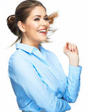 Happy toothy smiling business woman portrait. Isolated. White background Royalty Free Stock Image