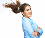 Happy toothy smiling business woman portrait. Isol Royalty Free Stock Image