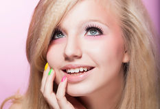 Happy Toothy Smiling Woman - Blonde Hair. Closeup Portrait of Happy Toothy Smiling girl Blond Hair Stock Photo