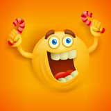 Happy toothy yellowround face with candys Stock Photo