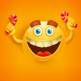 Happy toothy yellowround face with candys Stock Images