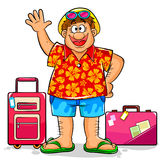 Happy tourist. Tourist in summer clothes ready to visit a tropical destination Royalty Free Stock Photo