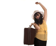 Happy tourist. Happy girl ready for traveling with suitcase and glasses, on white background Stock Photo
