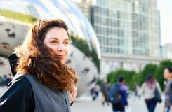 Happy tourist in Chicago, Illinois. Enjoying a sunny day Royalty Free Stock Images