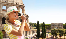 Happy Tourist and Coliseum, Rome Royalty Free Stock Photo