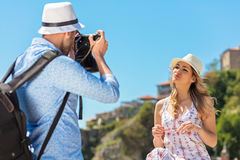 Happy Tourist Couple Enjoying City And Taking Photo Royalty Free Stock Photography