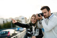 Happy couple in love traveling and bonding Royalty Free Stock Images