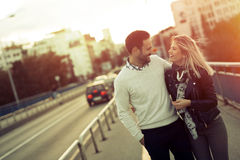 Happy tourist couple in love traveling Stock Images