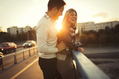 Happy tourist couple in love traveling Royalty Free Stock Photography