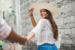 Happy tourist couple in love traveling Royalty Free Stock Image