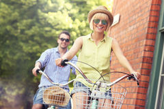 Happy tourist cycling the city Royalty Free Stock Photo